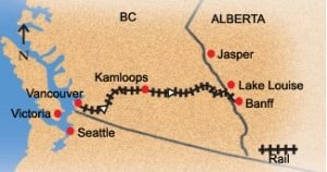 Vancouver to Banff train route