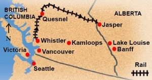 Vancouver to Jasper Via Whistler train route