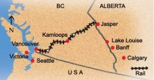 Vancouver to Jasper train route