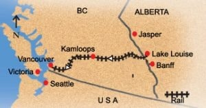 Vancouver to Lake Louise train route