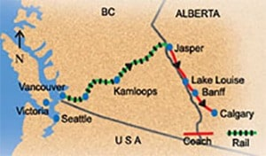One way VIA rail tour from Vancouver to Calgary